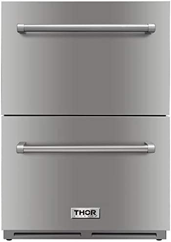 Amazon Com Thor Kitchen 24 Indoor And Outdoor Double Drawer Under Counter Refrigerator In Stainless Steel 5 3cu Ft Trf2401u Not A Freezer Appliances