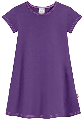 City Threads Big Girls' Cotton Short Sleeve Cover Up Dress for Sensitive Skin SPD Sensory Friendly, Purple, 14 -