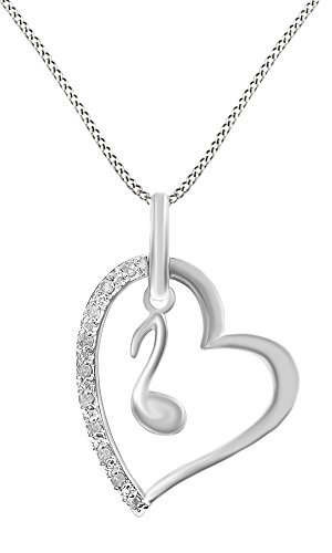 Jewel Zone US Mothers Day Jewelry Gifts 14k White Gold Over Sterling Silver White Natural Diamond Music Note Pendant Necklace (0.1 Ct)