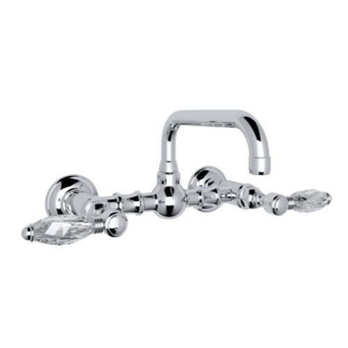 Bridge Rohl Faucet Lavatory (Rohl A1423LCAPC-2 Country Bath Wall Mounted Bridge Bathroom Faucet with Swarovski Crystal Lever Handles, Polished Chrome)