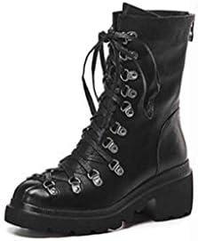 MSSugar Bottes pour Femmes Talon épais et Bout Rond Bottes mi-Mollet à Lacets Bottes de Neige/Bottes d\'équitation Automne/Hiver Noir,Black,38