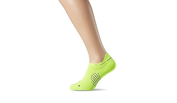 Nike Elite Running Lightweight No Show Socks Shoes (Volt/Black, 4-5.5)