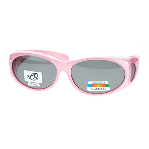 8fb750254d Womens Polarized Fit Over Glasses Sunglasses Oval Rhinestone Frame Pink -  Buy Online in Oman.