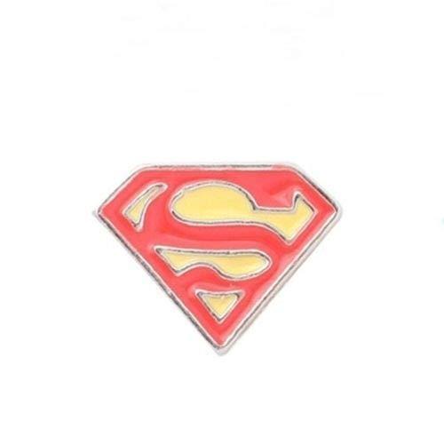 Pendant Jewelry Making Superwoman Symbol Pink Enamel 10mm Silver Floating Charm for Memory Lockets -