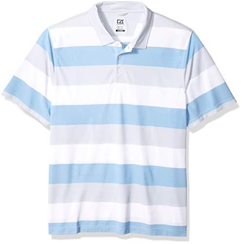 Cutter & Buck Men's Moisture Wicking Drytec Ballinger Wide Stripe Polo Shirt, Orbit, XX Large ()