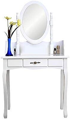 Amazon.com: White Vanity Set with Single Mirror Makeup ...