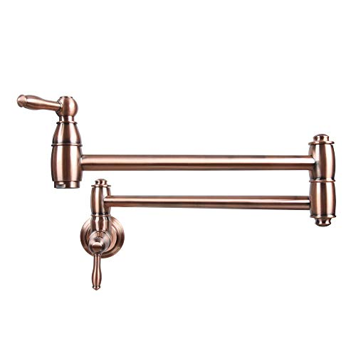 Antique Copper Pot Filler Folding Faucet Stretchable Double Joint Swing Arm Wall Mount Kitchen Faucet Single Hole Two handle Kitchen Sink Faucet-Five Years Warranty-Akicon