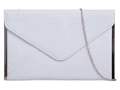 Ladies Women's Party Handbag Bag Girls Envelope Suede White amp; K50292 Clutch Purse Evening qYArqw