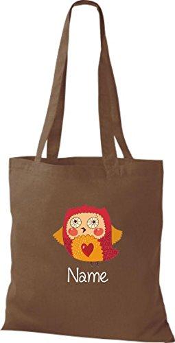 Tote Bag con DOLCE motivi incl. VOSTRA NOME PREFERITO gufo - Marrone Chiaro, 38 cm x 42 cm