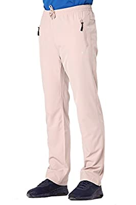 Clothin Men's Stretch Elastic-Waist Drawstring Pants With Front Zipper Pockets