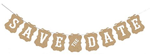 (SAVE THE DATE BANNER - Photo Booth & Engagement Picture Props - Bridal & Wedding Shower Decoration – Beige & White Letters Garland - Ready to Hang Design - by Jolly Jon ® (Beige with White Letters))