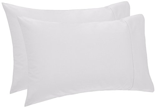 Cotton Hemstitch Bed Linen - Pinzon 400 Thread Count Egyptian Cotton Sateen Hemstitch Pillow Cases - Set of 2, Standard, White