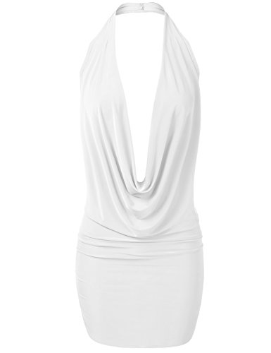 Luna Flower GDRW064 Women's Sexy Low Cut Plunge Halter Dress White (Sexy Low Cut White Dress)