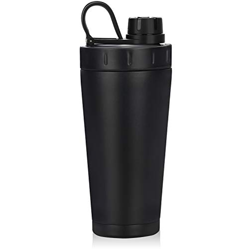 Shaker Bottle, Homiguar Insulated Stainless Steel Protein Shaker Bottle, Keeps Cold Hot, Double Walled Water Bottle Shaker Cup, Screw-top, Leak Proof, 20-Ounce, BPA Free - Black