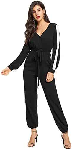 8de4e82e36 Romwe Women s Deep V Neck Self Belted Colorblock Jumpsuit Workout Rompers