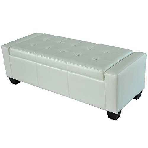 HOMCOM Faux Leather Storage Ottoman/Shoe Bench - White