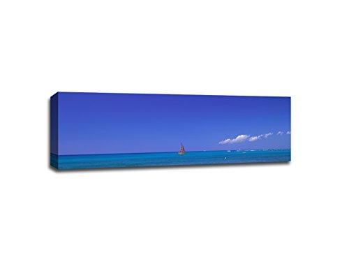 Yacht at Sea; Oahu, Hawaii - Boats - 48x16 Gallery Wrapped Canvas Wall Art by ArtsyCanvas