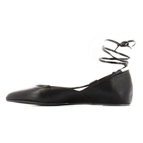 mujer del cuero zapatos la CAF esclavos Nero de punta cordón de ED406 bailarina NOIR de de negro 8OwFEPpq
