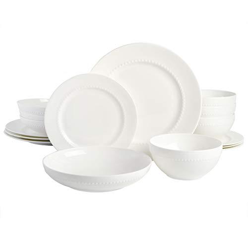 Gibson Elite Embossed Bone China Double Bowl Dinnerware Set, Service for 4 (16pcs), White