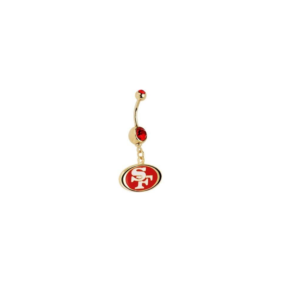 NFL Logo Gold Double Gem Belly Ring   San Francisco 49ers