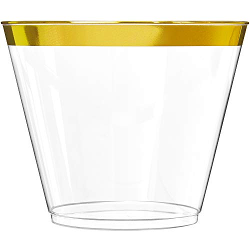100 Gold Plastic Cups | 9 oz | Hard Disposable Cups | Plastic Wine Cups | Plastic Cocktail Glasses | Plastic Drinking Cups | Bulk Party Cups | Wedding Tumblers | Clear Plastic Cups With Gold Rim