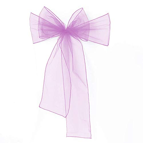 Meijuner 25pcs Chair Sashes Organza Sashes Chair Bow for Wedding Party Birthday Chair Decoration 25 Colors Available (Lilac) ()