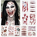 Halloween Horror Tattoo Party 3D Realistic Zombie Bleeding Scar Stitch Wound Vampire Scars Tattoos Decals Cosplay Costumes Scary Sticker Body Art Men Women Temporary Tattoo Waterproof