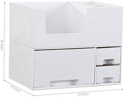 机上収納ボックスメイクボックス 化粧ポーチ コスメボックス 収納ボックス かわいい 持ち運び 多種機能 化粧品入れ 防塵 防水 ハンドル付き 大容量収納 24.2*17.2*19.4cm ホワイト グレー