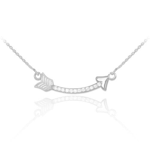 14k White Gold Diamond Studded Curved Arrow Necklace (22 Inches, - Curved Diamond Gold White Necklace