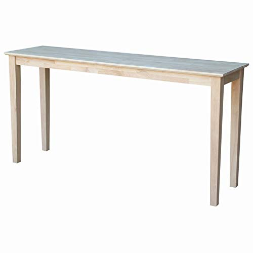 Stylish Rectangular Console Table with Butcher Block Surface, Sturdy and Durable Solid Parawood Construction, Clean Line Design, Indoor Use, Natural Color, Unfinished, Ready to ()