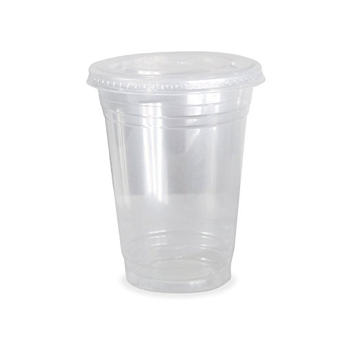 Dart Solo Clear Plastic Disposable Cups for Iced Coffee Bubble Boba Tea Smoothie, 16 oz, 50 Sets with Flat (Clear Plastic Cold Cups)
