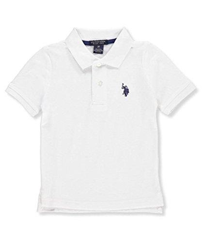 U.S. Polo Assn. Little Boys' Toddler Short Sleeve Pique Polo Shirt, White/Marina Blue, 3T (Pique Polo White)