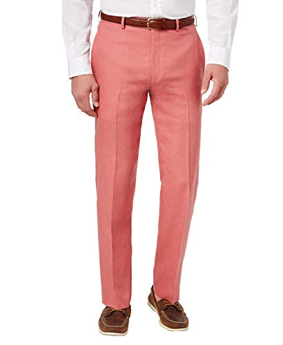 Lauren by Ralph Lauren Classic Fit Linen Dress Pants (Red, 36/32) ()