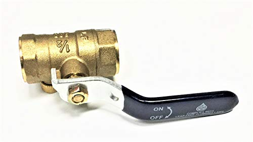 Valogin A15122-1/2 Lead Free Full Port Forged Brass Ball Valve with Waste Drain Female Threaded IPS Connections, 1/2""
