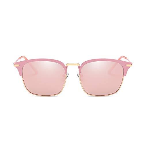 pour Color Lens Protection Soleil Black Pink Sakuldes métal Femmes Les et Lunettes Frame Classiques Lunettes Blue Les Pink Hommes Soleil Cadre Demi de Frame en rétro de Lens UV 0x6Pq0SR