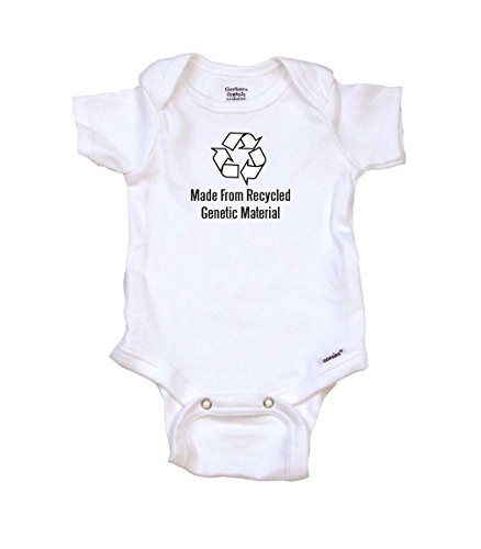 Recycled Organic Material (Made From Recycled Genetic Material Baby Onesie by Gerber, Newborn, Organic White)