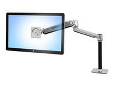 Ergotron LX HD Sit-Stand Desk Mount LCD Arm - Mounting kit ( pole, VESA adapter, sit-stand arm, desk clamp base, grommet-mount base ) for LCD display - aluminum - polished aluminum - screen size: up to 46