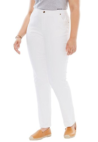 Womens Plus Size Straight Leg Stretch Jean White 26 W