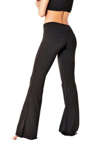 Amazon.com: Green Apple Women's Fitted Flare Yoga Pant (Black ...