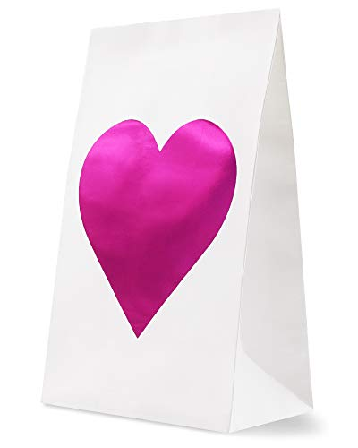 - 24-Pack Party Favor Bags with Magenta Pink Foil Heart Design, Birthday, Wedding, Bridal Shower Party Supplies, Treats, and Goodies, 5.3 x 8.75 x 3.2 Inches