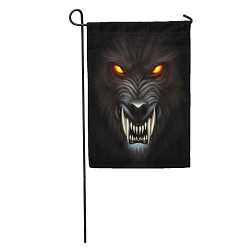 Semtomn Garden Flag Animal Angry Werewolf Face in Darkness Digital Painting Fantasy Fierce Home Yard House Decor Barnner Outdoor Stand 12x18 Inches Flag -