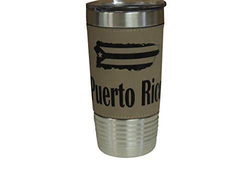 Puerto Rico Leather Wrapped Vacuum Insulated Tumbler 20 Oz Stainless-Steel Vacuum Mug For Travelling Sports Outdoor & Gym (Brown)