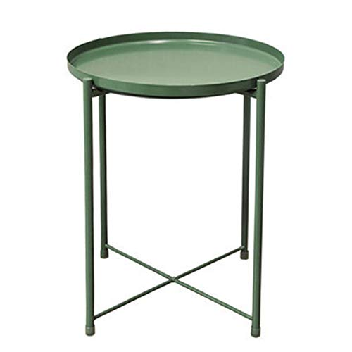 Collapsible Metal Folding Tray Side Table,Tray Metal End Table, Sofa Table Small Round Side Tables, Anti-Rust and Waterproof Outdoor & Indoor Snack Table, Accent Coffee Table (Green) (Nesting Tables Mosaic)