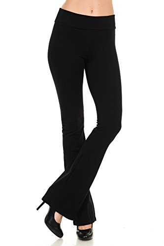 JDJ CO. Women's Cotton Solid Color Bootcut Length Fold Over Waistband Yoga Pants