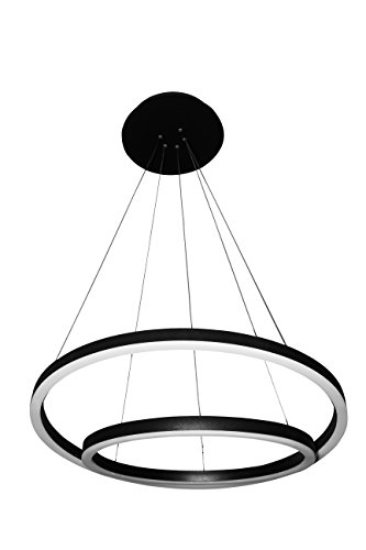 VONN VMC31740BL Tania Duo 24″, Adjustable Suspension Fixture, Modern Chandelier Lighting in Black Integrated LED, L x 23.75″ W x 120″ (16.5″) H