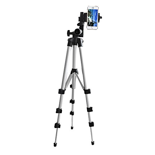 Alovexiong 110cm General Portable Camera Tripod Stand Holder Adjustable Rotatable Retractable Tripods + Smartphone Clip Holder Mount For iPhone 5 6S 7 8 9 Plus X Phone LG Video Camera GoPro by Alovexiong (Image #1)