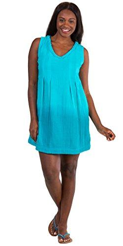 Peppermint Bay Cotton Sleeveless Short Ombre Beach Dress in Coral Or Aqua (Aqua, Medium (6-8))