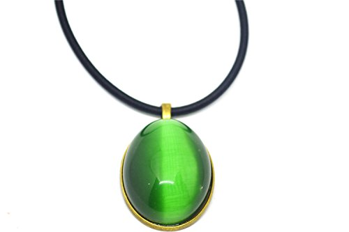 Vintage Oval Green Cat Eye Stone Pendant Rope Necklace