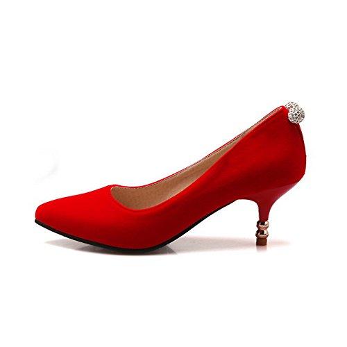 AllhqFashion Damen Rund Zehe Mittler Absatz Nubukleder Eingelegt Stiefel, Rot, 40