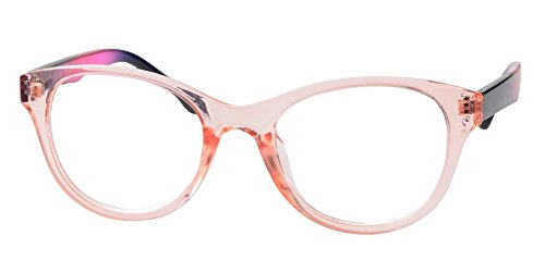 SOOLALA Lovely Hit Color Oversized Clear Lens Eye Glasses Frame Wide Reading Glasses, TransparentPink, 3.0D